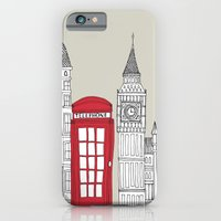 iPhone & iPod Case featuring London Red Telephone Box by bluebutton studio