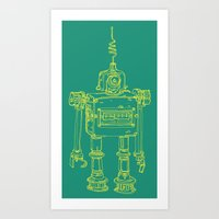 Yellow Robot Art Print
