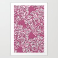 clouds - soft fuschia Art Print