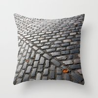 Leaves on cobblestones Throw Pillow