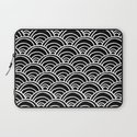 Waves All Over - White on Black Laptop Sleeve