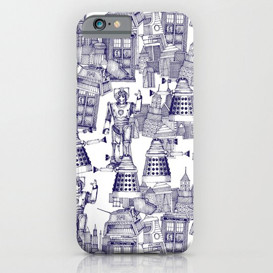 Doctor Who Toile de Jouy | 'Walking Doodle' | Blue iPhone & iPod Case