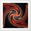 organge red waves and strips an elaborate pattern in strong Faben Art Print