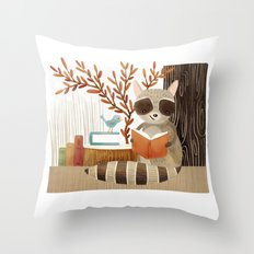 The Bookish Forest: Raccoon Throw Pillow