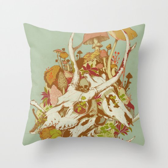 skulls in spring Throw Pillow