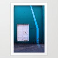 White Door Blue Wall Art Print
