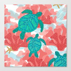 Sea Turtles in The Coral - Ocean Beach Marine Canvas Print