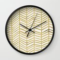 Gold Herringbone Wall Clock