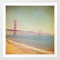 A Golden Day at the Beach Art Print