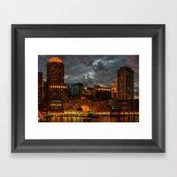 Night at Boston Harbor Framed Art Print