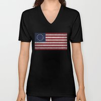The Betsy Ross flag of the USA - Vintage Grungy version Unisex V-Neck