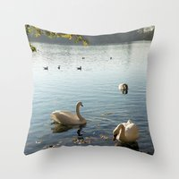 Swans In Autumn Throw Pillow