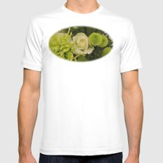 White and Green Arrangement Mens Fitted Tee White SMALL