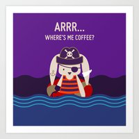 Pirate Bunny Needs Coffee Art Print
