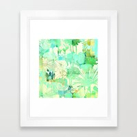 turquoise floral Framed Art Print