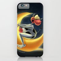 iPhone & iPod Case featuring Crazy Moon Cow by Tooshtoosh