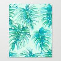 Paradise Palms Mint Canvas Print