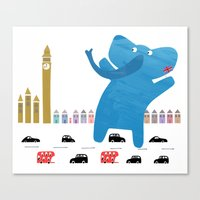 an enormous elephant enjoying england :) Canvas Print