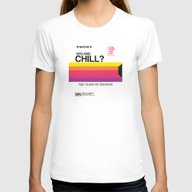 VHS And Chill Womens Fitted Tee White MEDIUM