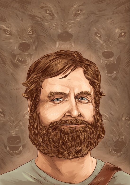 One man wolf pack Art Print