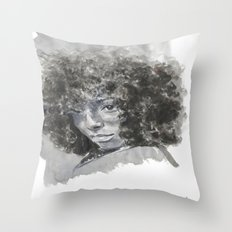 SHY black woman  Throw Pillow