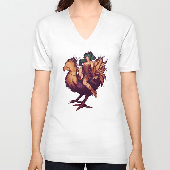 Mog's Chocobo Riding Club V-neck T-shirt
