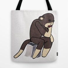 Sock Monkey Thinking Tote Bag