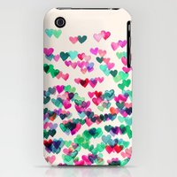 iPhone 3Gs & iPhone 3G Cases featuring Heart Connections II - watercolor painting (color variation) by micklyn