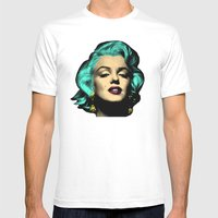 MARILYN BLUE Mens Fitted Tee White SMALL
