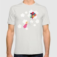 Girl With Balloons Mens Fitted Tee Silver SMALL