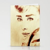 audrey hepburn Stationery Cards featuring Audrey Hepburn by Farinaz K.