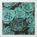 Polka dot roses in mint Canvas Print