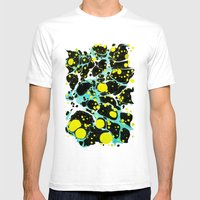 Space Blue Marbling Mens Fitted Tee White SMALL