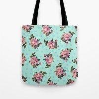 Pink Roses On Blue Tote Bag