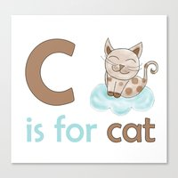 c is for cat, children alphabet for kids room and nursery Canvas Print