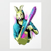 Rabbit With A Chainsaw Art Print