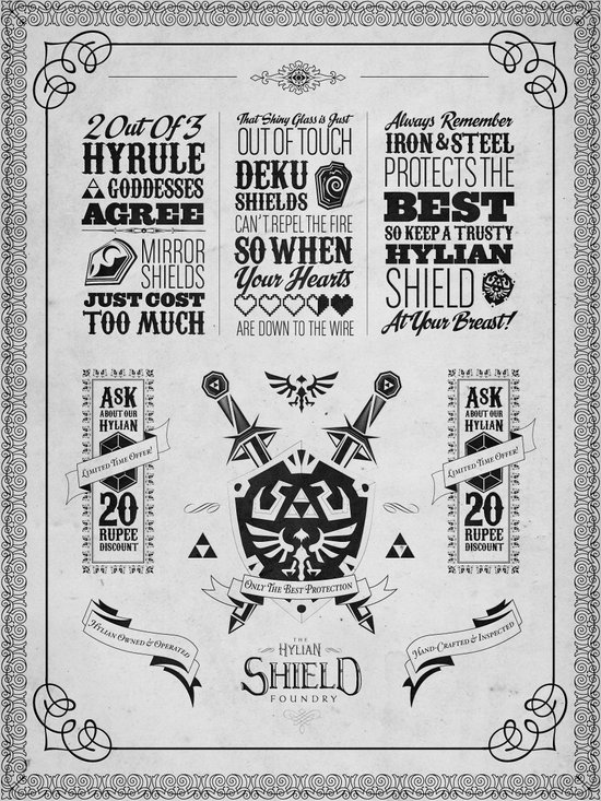 Legend of Zelda - The Hylian Shield Foundry Art Print