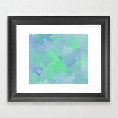 Shades of Blue and Green Octagon Abstract Framed Art Print
