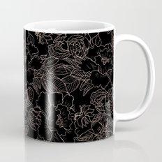 Pink coral tan black floral illustration pattern Mug