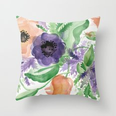 Spring Bouquet - Tulips & Anemones Throw Pillow