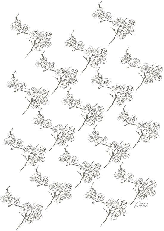 Japanese Trees ( Japan, Asia, Black-White, Delicate, Elegant print ) Art Print
