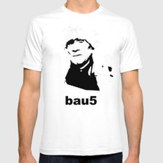 bau5 White Mens Fitted Tee SMALL