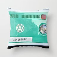 Throw Pillow featuring Adventure Wolkswagen. Su… by Guido Montañés