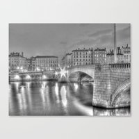 Bonaparte bridge in Lyon, France - hdr b&w Canvas Print