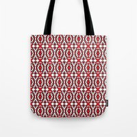 Red And White Tiles Tote Bag