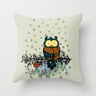 Owl In The Snow V2 Throw Pillow