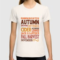Subway Style Autumn Words Womens Fitted Tee Natural SMALL