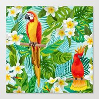Tropical Parrot Chillin Canvas Print