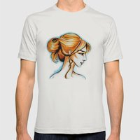 blonde girl Mens Fitted Tee Silver SMALL
