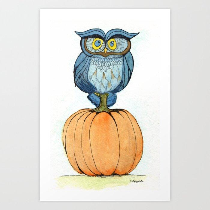 Sunday's Society6 | Halloween pumpkin owl art print